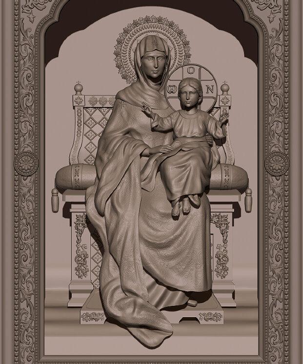 """Резная икона """"Богородица на троне"""" — Мастерская резных икон ShatoWood"""
