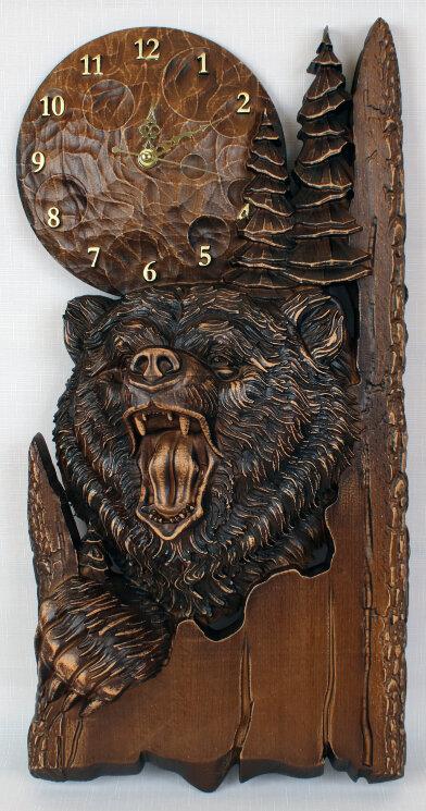 """Часы резные деревянные """"Медведь"""" — Мастерская резных икон ShatoWood"""