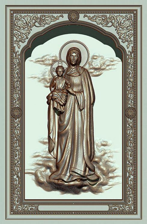 """Резная икона Богородицы """"Благодатное небо"""" — Мастерская резных икон ShatoWood"""