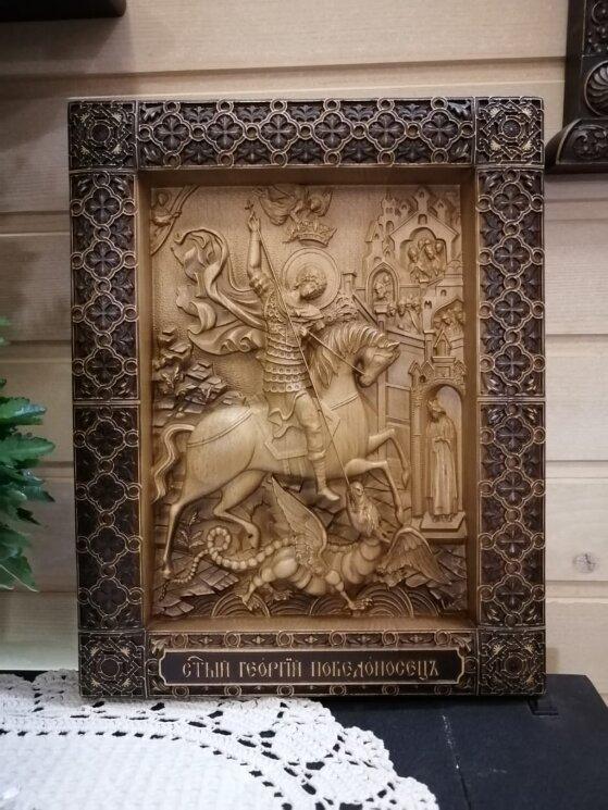 """Резная икона """"Святой Георгий Победоносец"""" — Мастерская резных икон ShatoWood"""