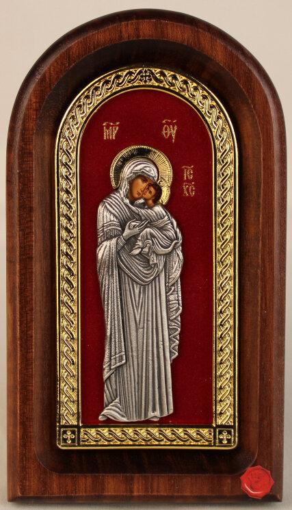 """Икона """"Богородица Умиление"""" на красном бархате — Мастерская резных икон ShatoWood"""