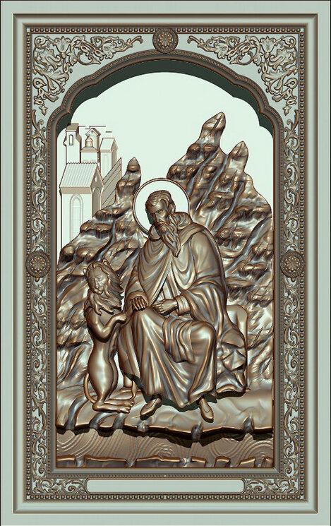 """Резная икона """"Преподобный Герасим Иорданский"""" — Мастерская резных икон ShatoWood"""