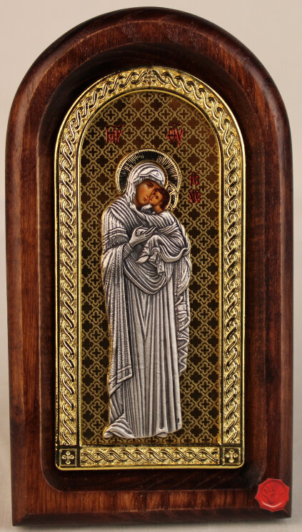 """Икона """"Богородица """"Умиление"""" на золоте — Мастерская резных икон ShatoWood"""