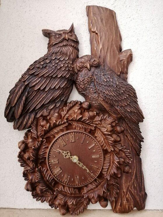 """Часы из дерева """"Совушки"""" — Мастерская резных икон ShatoWood"""