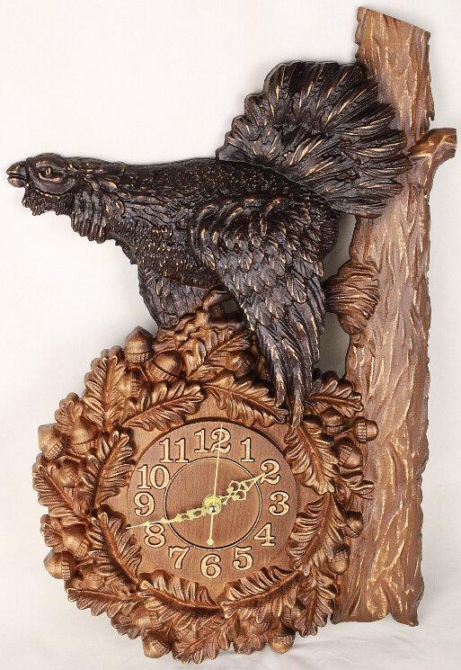 """Часы из дерева """"Глухарь"""" — Мастерская резных икон ShatoWood"""