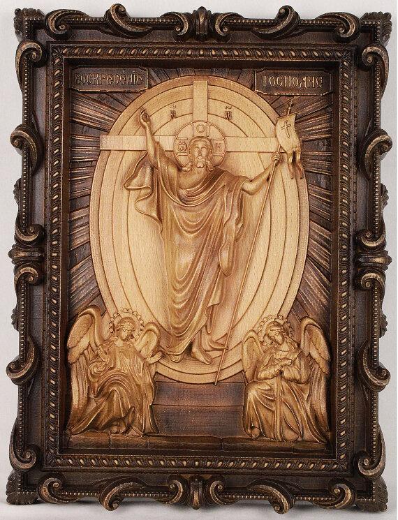 """Резная икона """"Воскресение Христово"""" — Мастерская резных икон ShatoWood"""