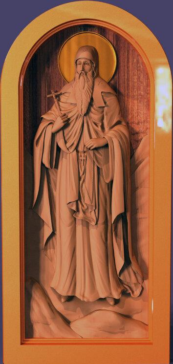 """Резная икона """"Преподобный Иоанн Рыльский"""" — Мастерская резных икон ShatoWood"""