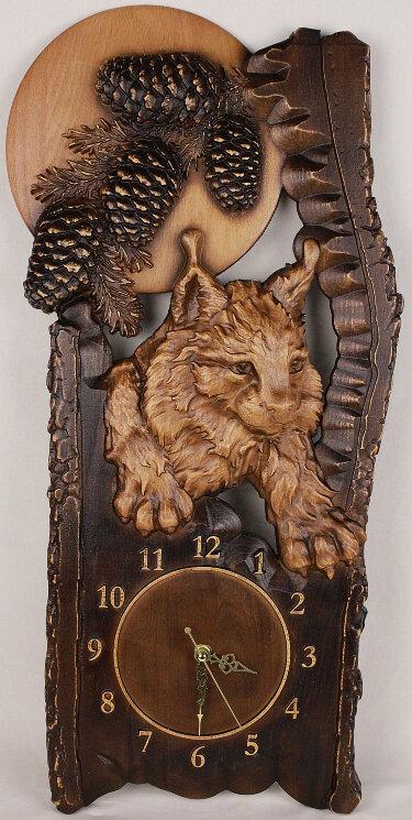 """Часы из дерева """"Рысь"""" — Мастерская резных икон ShatoWood"""