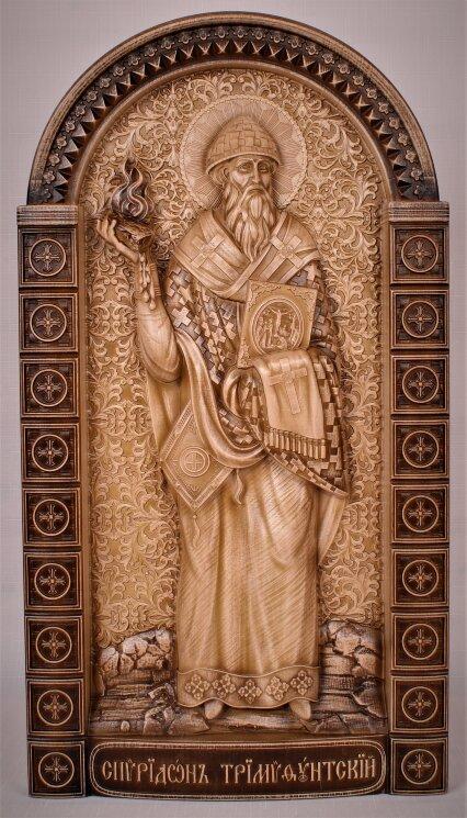 """Резная икона """"Святой Спиридон Тримифунтский"""" (в3) — Мастерская резных икон ShatoWood"""