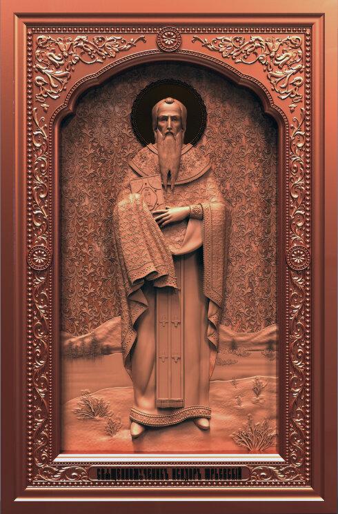 """Резная икона """"Священномученик Исидор Юрьевский"""" — Мастерская резных икон ShatoWood"""