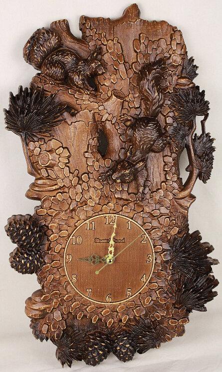 """Часы из дерева """"Белки на дереве"""" — Мастерская резных икон ShatoWood"""