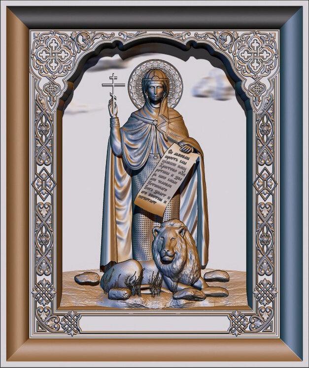 """Резная икона """"Святая Дарья Римская"""" — Мастерская резных икон ShatoWood"""