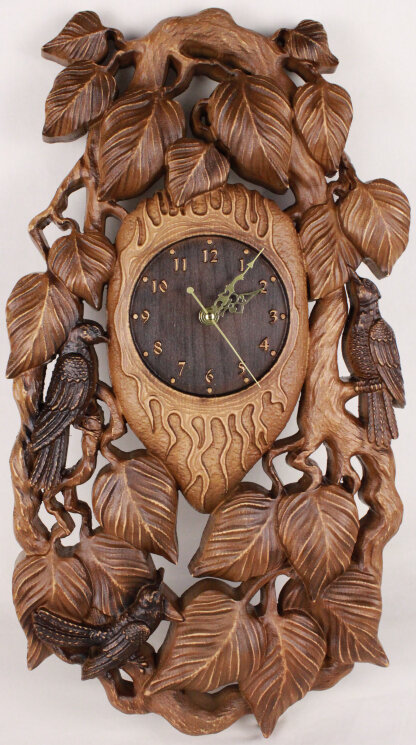 """Часы из дерева """"Птицы"""" — Мастерская резных икон ShatoWood"""