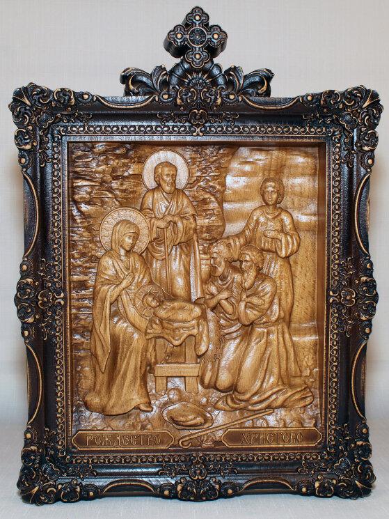 """Резная икона """"Рождество Христово"""" — Мастерская резных икон ShatoWood"""