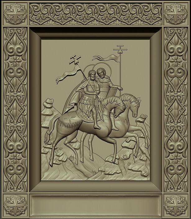 """Резная икона """"Священномученики Флор и Лавр"""" — Мастерская резных икон ShatoWood"""