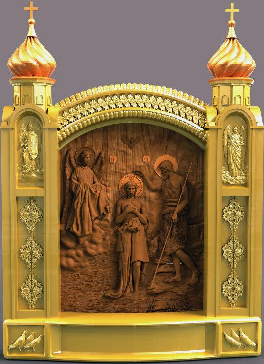 """Резная икона """"Крещение Господне"""" — Мастерская резных икон ShatoWood"""
