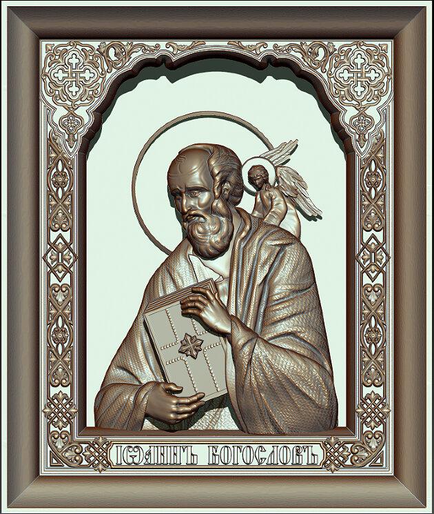 """Резная икона """"Иоанн Богослов"""" — Мастерская резных икон ShatoWood"""
