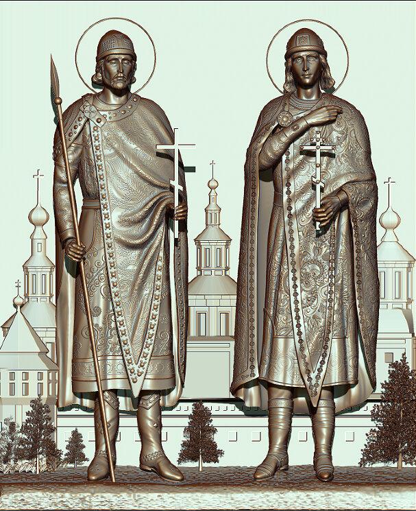 """Резная икона """"Святые князья Борис и Глеб"""" — Мастерская резных икон ShatoWood"""
