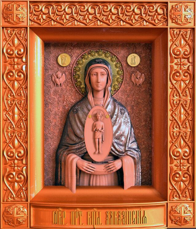 """Резная икона Божией Матери """"Слово Плоть Бысть"""" Албазинская — Мастерская резных икон ShatoWood"""