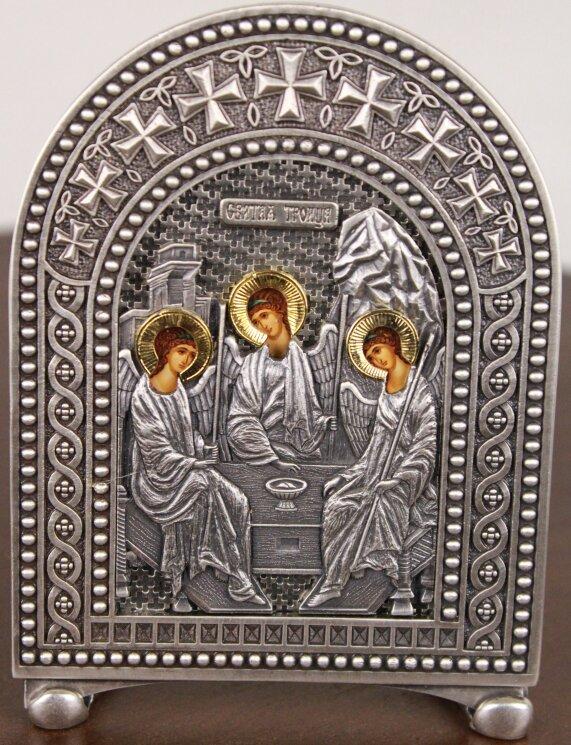 """Икона """"Святая Троица"""" на серебре — Мастерская резных икон ShatoWood"""