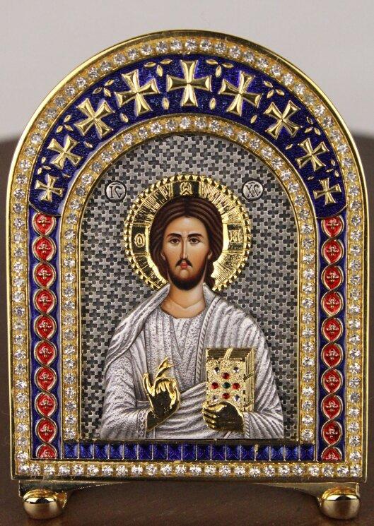 """Икона """"Господь Вседержитель"""" на серебре — Мастерская резных икон ShatoWood"""