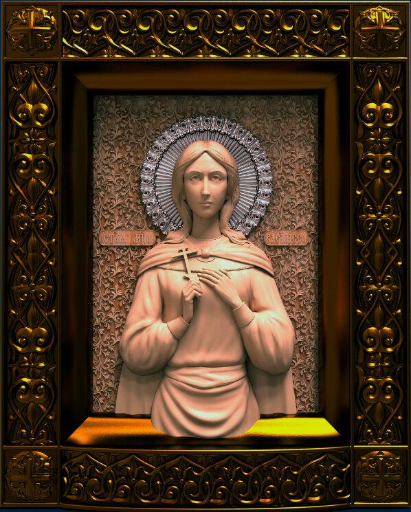 """Резная икона """"Святая мученица Василисса"""" — Мастерская резных икон ShatoWood"""