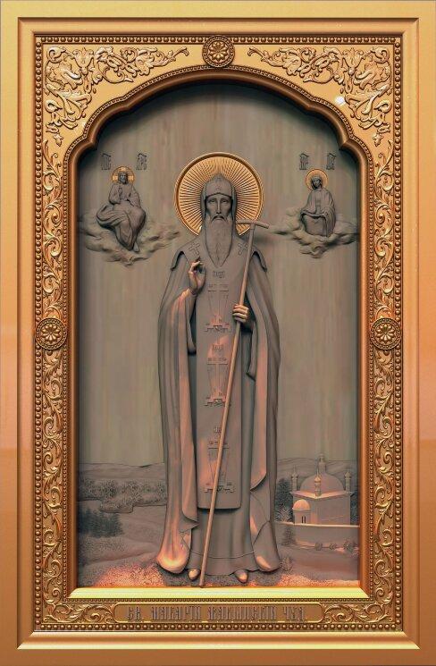 """Резная икона """"Святой Макарий Жабынский чудотворец"""" — Мастерская резных икон ShatoWood"""