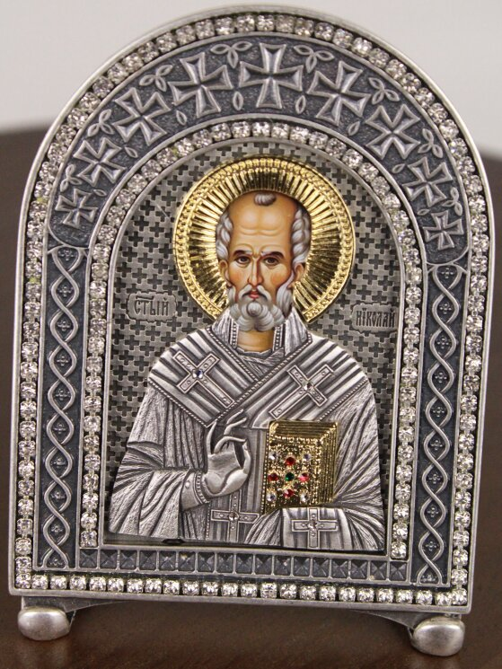 """Икона """"Св. Николай Чудотворец"""" на серебре — Мастерская резных икон ShatoWood"""