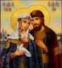 """Рукописная икона по которой была создана модель """"Святые Петр и Феврония Муромские"""" (в2) с молитвой"""