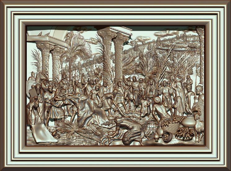 """Резное панно """"Вход Господень в Иерусалим"""" — Мастерская резных икон ShatoWood"""