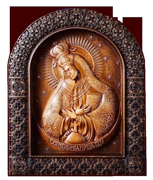 """Резная икона Божией Матери """"Остробрамская"""" — Мастерская резных икон ShatoWood"""