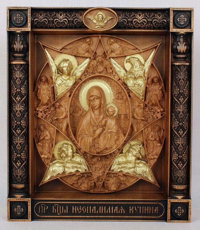 """Резная икона Божией Матери """"Неопалимая Купина"""" — Мастерская резных икон ShatoWood"""