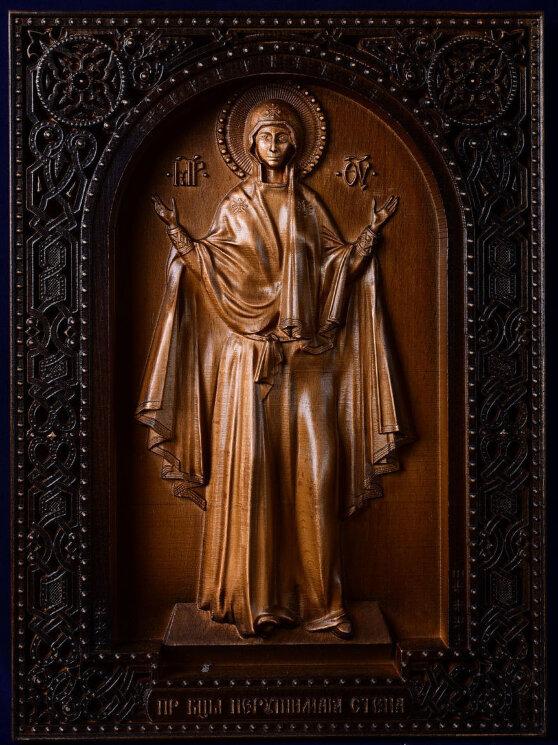 """Резная икона Божией Матери """"Нерушимая стена"""" — Мастерская резных икон ShatoWood"""