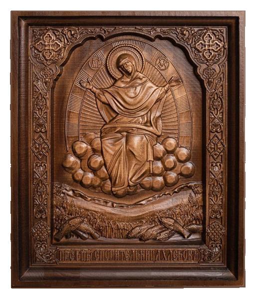 """Резная икона Божией Матери """"Спорительница хлебов"""" — Мастерская резных икон ShatoWood"""