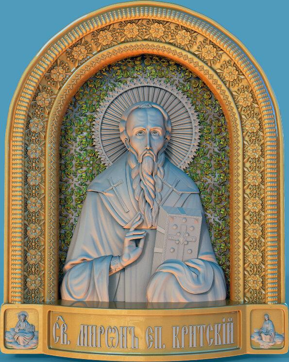 """Резная икона """"Святой Мирон, епископ Критский"""" — Мастерская резных икон ShatoWood"""