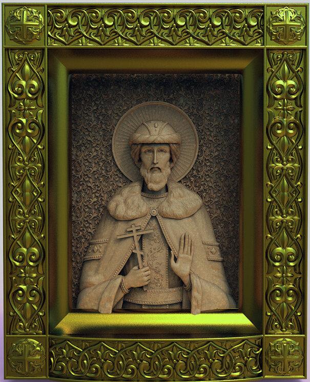 """Резная икона """"Святой благоверный князь Святослав"""" — Мастерская резных икон ShatoWood"""