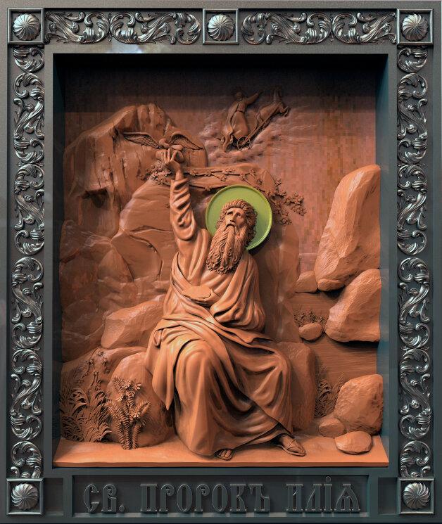 """Резная икона """"Святой Пророк Илия"""" в2 — Мастерская резных икон ShatoWood"""