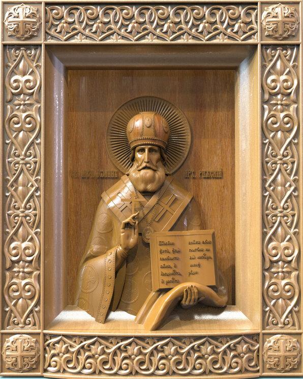 """Резная икона """"Святой Иоанн архиепископ Рижский"""" — Мастерская резных икон ShatoWood"""