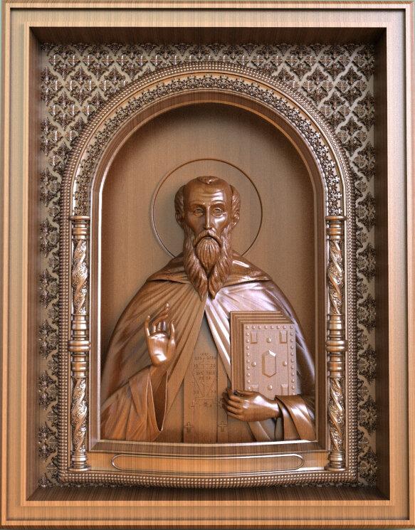 """Резная икона """"Святой преподобный Сисой Великий"""" — Мастерская резных икон ShatoWood"""