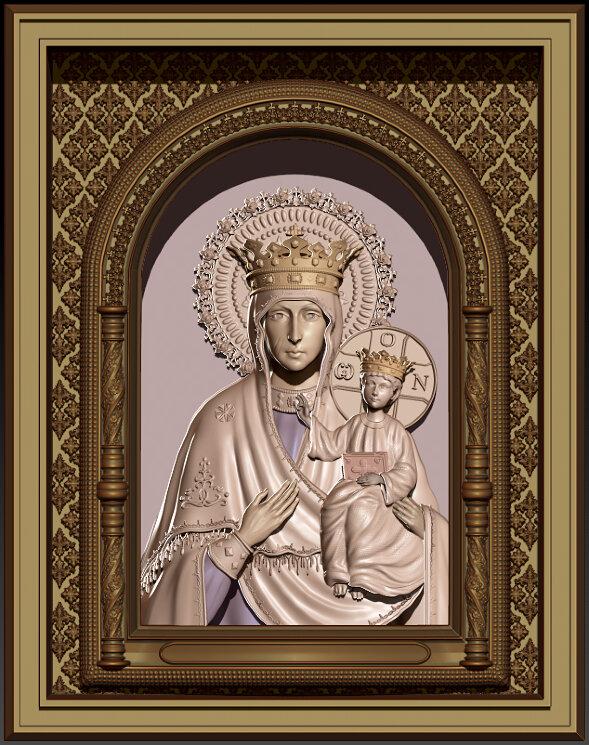 """Резная икона Богородица """"Ченстоховская"""" — Мастерская резных икон ShatoWood"""