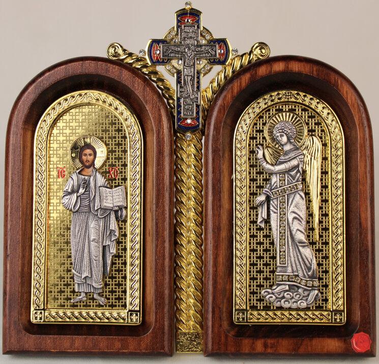 """Двойная икона """"Господь Вседержитель и Ангел-Хранитель"""" на золоте — Мастерская резных икон ShatoWood"""