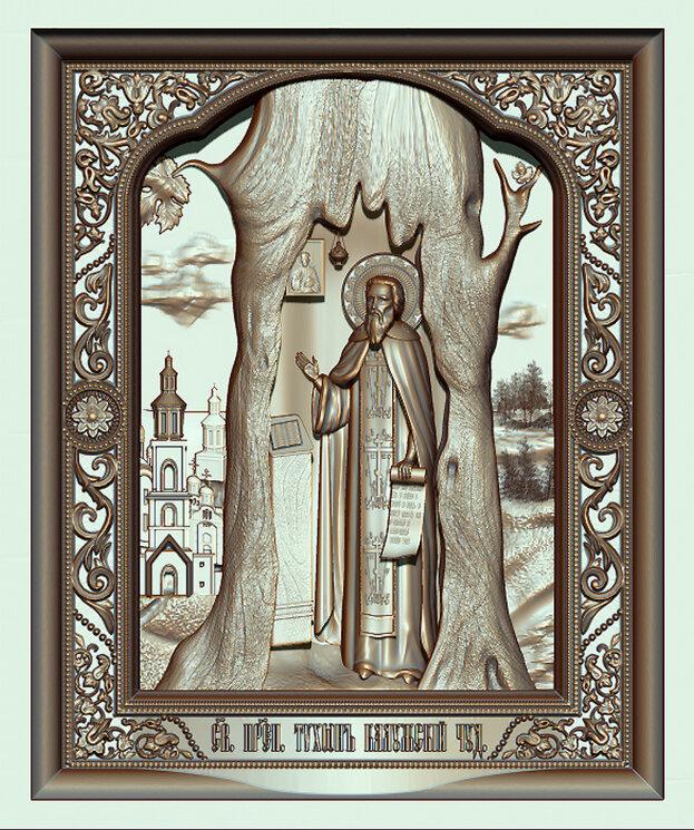 """Резная икона """"Святой Тихон. Калужский чудотворец"""" — Мастерская резных икон ShatoWood"""